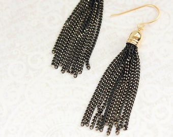Gold Chain Tassel Earrings Black Dangle Modern Earrings Bridesmaids Jewelry Lightweight Everyday Earrings Long Fun Unique Minimalist