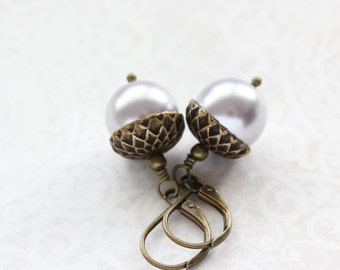 Light Mauve Pearl Acorn Earrings Light Purple Pearl Drop Autumn Oak Jewelry Lightweight Everyday Dangle Earrings Lever back Woodland Nature