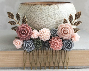 Bridal Hair Comb Dusty Rose Pink Bridesmaids Grey Wedding Floral Collage Comb Romantic Vintage Style Bridal Hair Piece Dahlia Chrysanthemum