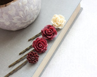 Deep Red Rose Bobby Pins Maroon Red Chrysanthemum Dahlia Hair Clips Bridesmaids Gift Set of Four Fall Wedding Christmas Gift For Her