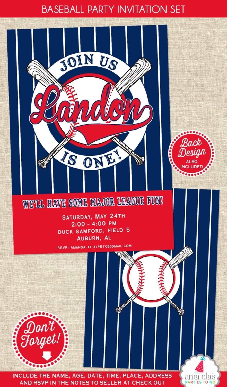 Baseball Birthday Invitation Baseball Party Invitation