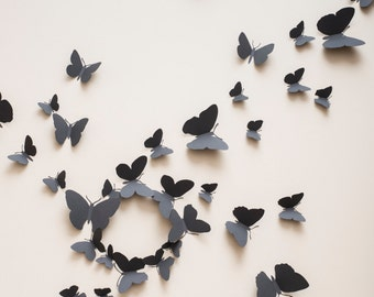 3D Wall Butterflies: 3D butterfly wall decals, paper butterflies in slate grey, modern decor