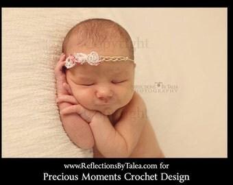 Newborn Photo Prop - Newborn Tie Back, Newborn Headband, Baby Tie Back Halo, Three Rosettes Newborn Halo, Baby Delicate Flowers Headband