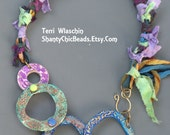 Poly Clay Mixed Media statement Necklace - Bohemian rhapsody - The beads move!!!