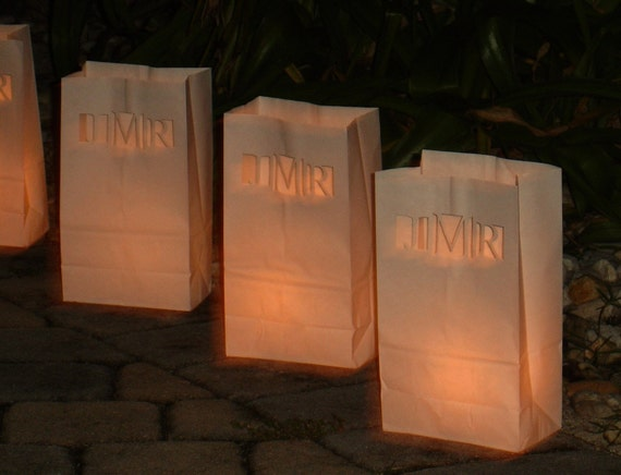 Personalized Wedding Candle Luminaries (White) with Custom Laser Cut Monogram