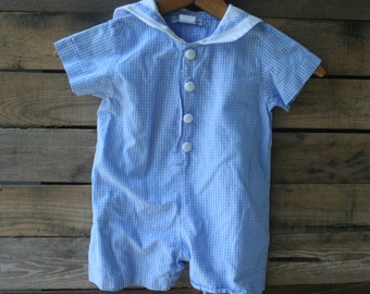Vintage Blue & White Gingham Romper by Funtasia! Too Size 24 Months