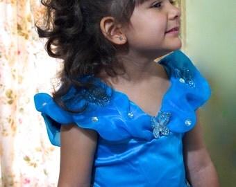w/tiara high quality girls sz. 3-4-5-6  CINDERELLA DRESS with BUTTERFLIES cinderella ball gown princess dress cinderella cosplay