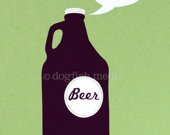 Growler Beer Screen Print Poster - Drink Locally