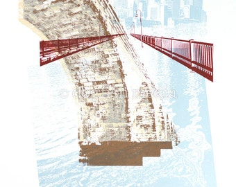 "11 x 14"" Stone Arch Bridge Screen Print Poster"