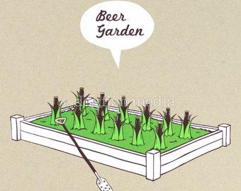 Beer Poster - Beer Garden - Beer Screen Print