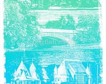 Minneapolis Chain of Lakes Screen Print Poster