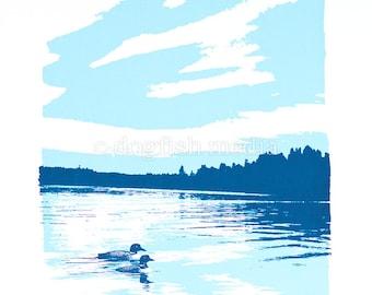 Two Loons Lake Screen Print Poster