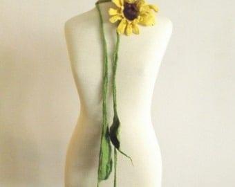 Merino felted necklace, Wedding Jewelry, Bridesmaid Jewelry Orange Flower Necklace Sunflower
