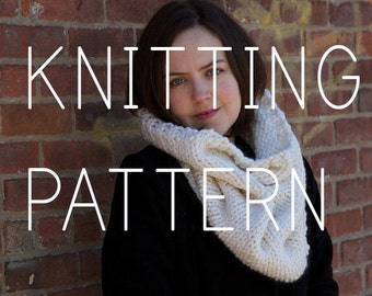 Beginner Knitting Pattern Infinity Scarf Cowl - Easy Intermediate - Digital Download