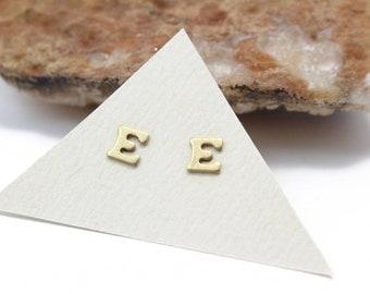 Initial Stud Earrings Small Letter E Stud Earrings