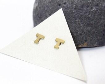 Stud Earrings Initials Stud Earrings Small Letter T Stud Earrings