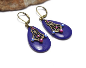Cobalt Blue Vintage Glass Earrings with Swarovski Crystals