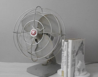 SALE / vintage industrial grey GE electric oscillating tabletop fan / working condition / gray