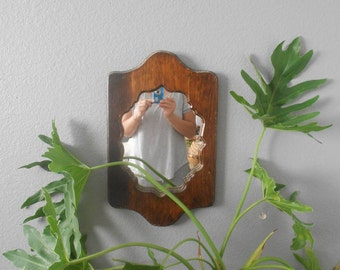 vintage carved wooden boho wall hanging mirror / ornate / brown