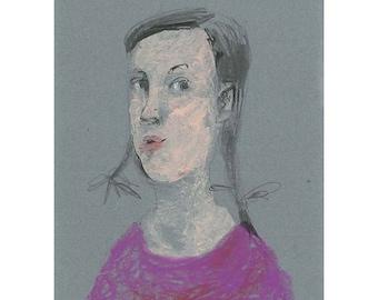 art Girl original drawing  pastel portrait figurative small woman