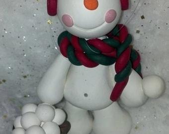 Snowball Ornament, Snowman Ornament, Christmas Snowman Ornament, Personalized Custom Ornament, Snowman Child Ornament, Snowball Fight Snow