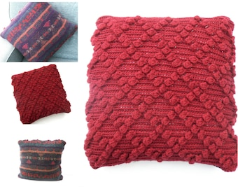 Red Chunky Cushion cover -  Clearance sale , reduced price , Winter throw pillow , colourful recycled and hand knitting combined. OOAK