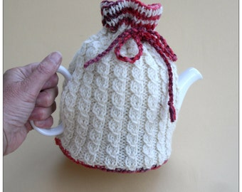 Cream Tea Cosy , hand knitted tea pot cover ,  aran tea cosy , cable knit cosy , mothers day gift for her , hand knitted tea pot cozy