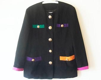 Vintage 1980s japanese multi color block Wool Jacket size m