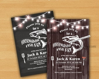 Fish Fry party, Housewarming Invitation, Housewarming Fish Fry gathering party Invitation, Chalkboard Backyard, Barbecue Fish Fry - card 846