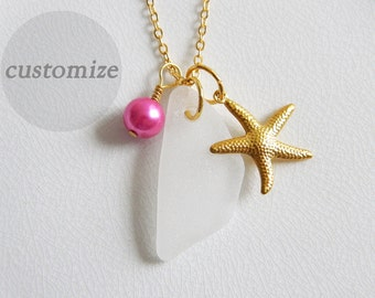 CUSTOM White Sea Glass, Gold Starfish Charm Necklace, Glass Pearl, Genuine Beach Glass Jewelry, Authentic Seaglass Necklace