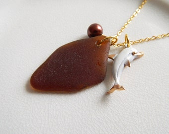 CUSTOM Genuine Sea Glass Necklace, Vintage Gold Dolphin Charm, Glass Pearl, Authentic Beach Glass Necklace, Chesapeake Seaglass Jewelry