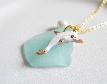 CUSTOM Aqua Blue Sea Glass Necklace, Vintage Gold Dolphin Charm, Glass Pearl, Authentic Beach Glass Necklace, Genuine Seaglass Jewelry