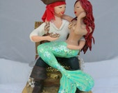 Mermaid and Pirate Wedding Cake Topper CUSTOMIZED to your features Hand Sculpted in Clay