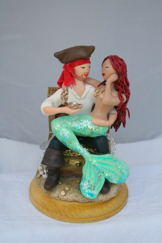 pirate wedding cake topper mermaid and pirate wedding cake topper customized to your 18622