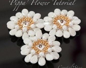 PDF beading tutorial pattern - Pippa flower - 10.5mm Swarovski rivoli
