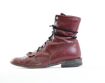 Vtg Distressed Justin's Lace up Midcaf Grunge Boots 6.5
