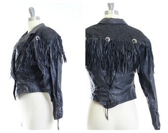 70s Vtg Leather Western Cropped Corset Fringe Jacket Size S