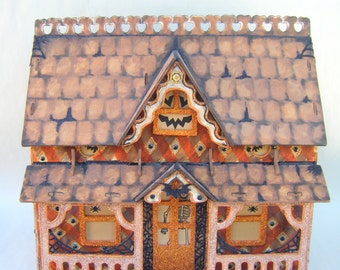 Haunted House Halloween Dollhouse Glitter Orange Black Handmade Hand Painted Large Luminary Farmhouse Tabletop One Of A Kind Wooden Heirloom