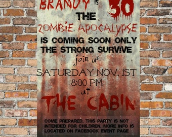 End of the World Zombie Apocalypse Walking Dead Party Invitation