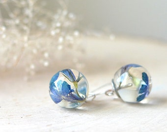 Real flower earrings - resin jewelry, blue verbena, nature jewelry, terrarium earrings, gift under 40 flower girl gift