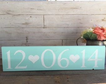 Event Date Wood Sign Wedding Birthday Baby Shower Rustic Save the date