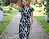 40s style Hawaiian sarong wrap dress, pink flowers on black, sizes XS to XXL