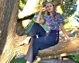 40s style high waisted trousers in dark blue linen fabric, size US 6 / wide leg trousers / womens trousers / nautical trousers