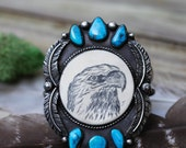 Eagle Cuff. Scrimshaw Jewelry. Natural Turquoise Bracelet. Silver Feather Bracelet. Morenci Turquoise Cuff. Spirit Animal Jewelry.