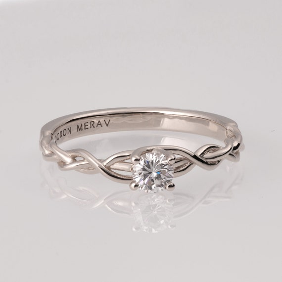 braided engagement ring white gold and by doronmerav