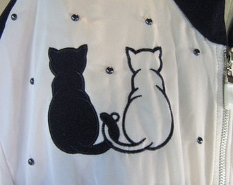 Love Cats Navy & White Jacket Top