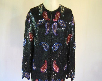 Carina Paisley Sequin Cardigan Jacket Top