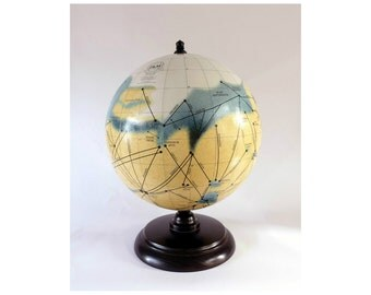 "Handcrafted Mars Globe, ""Mars and Its Canals"" based on the map by Percival Lowell  FREE SHIPPING World Wide"