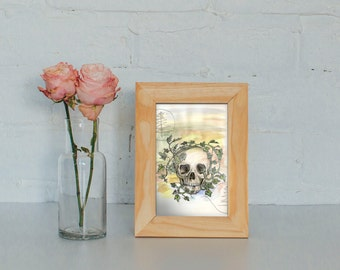 Painting of Skull - Watercolor painting of Skull and Leaves -