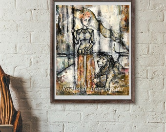 Woman Warrior Painting- Mixed Media Woman - 11x14 art print